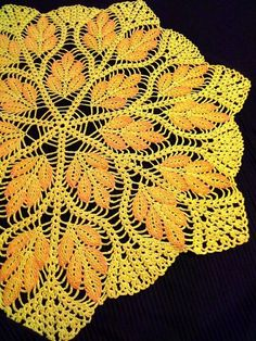 Yellow crochet doily Crochet napkin Lace doily Crochet by OlLace Filet Crochet, Crochet Round, Thread Crochet, Crochet Crafts, Hand Crochet, Diy Crafts, Crochet Dollies, Crochet Flower Patterns, Crochet Mandala