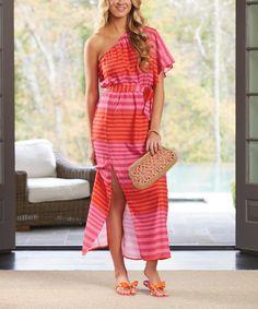 Another great find on #zulily! Pink & Orange Stripe Asymmetrical Maxi Dress - Women #zulilyfinds