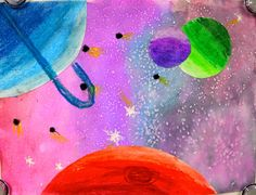 4th / 5th: fantasy space-scapes / planets. oil pastel and watercolor w/ salt