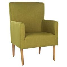"""Arm chair with linen-blend upholstery and birch legs.Product: Chair    Construction Material: Birch wood and cotton velvet blend     Color: Green and maple   Features: Retro flair    Will enhance any décor   Dimensions: 37"""" H x 27.2"""" W x 28"""" D    Cleaning and Care: Professional cleaning recommended"""