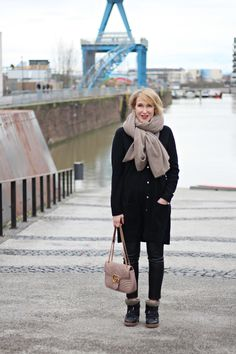 A fashion blog for womemm over 40 and mature women Scarf + Cardigan: Edelziege Bag: Gucci Booties: Isabel Marant Leather-Pants: Wenz
