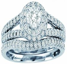 White Gold Double Halo Shape Style With Round Center Stone And Round Diamonds Bridal Ring Set (1.00ct. tw) -28137206