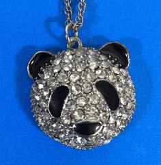 """Panda Face Head Crystal Pendant Necklace 22"""" Silver Chain 2"""" Extender #Unbranded #Pendant"""