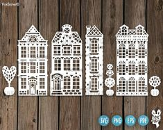 by FoxSister on Etsy Illustration Vector, Illustrations, Cricut, House Silhouette, Silhouette Studio, House Clipart, Tree Clipart, Scrapbooking Digital, Dutch House