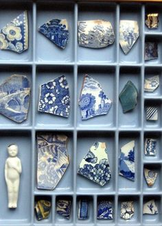 Broken pottery from the sea- I have a collection of these from beach combing in Okinawa. Broken pottery from the sea- I have a collection of these from beach combing in Okinawa. Willow Pattern, Blue And White China, Assemblage Art, Displaying Collections, Collections Of Objects, Delft, Electric Blue, Box Art, Chinoiserie