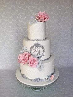 White & silver wedding cake  - cake by Layla A