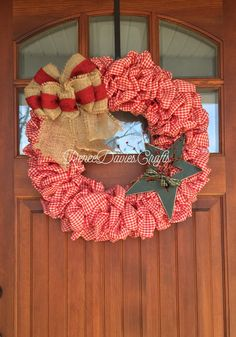 A personal favorite from my Etsy shop https://www.etsy.com/listing/496539801/gingham-wreathcountry-wreath-rustic