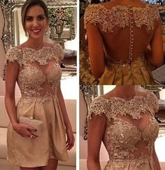 Champagne Appliques Beaded Homecoming Dress,Off Shoulder Open Back