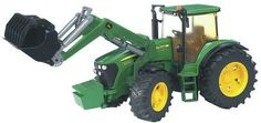 Toy tractors don't get any better than this John Deere 7930 with Frontloader from American toy brand Bruder. Fitted with opening d John Deere 7930, Vintage Toys, Tractors, Barn, Vehicles, Cakes, Autos, Brother, Fall
