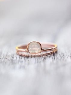 Wild Romance // Diamond Bridal Ring Set in Rose Gold Discreet, delicate and beautifully unexpected. Bridal Rings, Wedding Ring Bands, Bridal Jewelry, Gold And Silver Rings, Rose Gold Jewelry, Alternative Engagement Rings, Alternative Bride, Or Rose, Jewelry Design