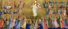 ANGELICO, FRA Vicchio di Mugello, Florencia, 1395 – Roma   Christ Glorified in the Court of Heaven c. 1423-1424. Egg tempera on wood. 31,7 x 73 cm. National Gallery, London. 663.1.