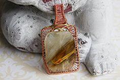 Tiger Print Copper Wire Pendant - Square Glass Bead Cabochon - Orange Stripe Copper Pendant - Wire Wrapped Cabochon