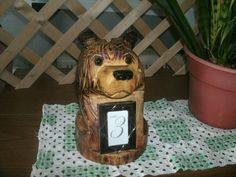 10 Chainsaw Carved Cedar Bear w/ Picture Frame by MabelsDesigns, $30.00