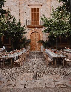 A Stylish, Secluded Wedding at a Finca in Mallorca, Spain Wedding Centerpieces, Wedding Decorations, Wedding Themes, Wedding Styles, Courtyard Wedding, Real Weddings, Destination Weddings, Romantic Weddings, Disney Weddings