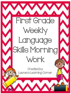 This set of language skills includes 5 language skill activities for each month, months September through June, and are designed for first grade.  The language skill activities are perfect to use as a weekly morning work center, but can also be used as a weekly journal assignment, as a part of writing workshop, as a choice or menu activity for students who finish other assigned work early, as a weekly or monthly check-in or assessment or as a part of your literacy centers.