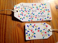 Merry and bright, Christmas lights gift tags