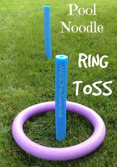 Easy Pool Noodle Ring Toss Game. Find this and more fun DIY Pool Noodle Games- no water needed! Check out these fun alternative used for pool noodles!