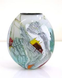"""Large """"painted"""" Glass Vase by Keith Mahy   Statements Gallery"""