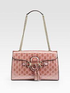 Gucci - Emily Light Pink Shiny Microguccissima Shoulder Bag