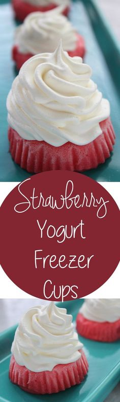 DIY Healthy Strawberry Yogurt Freezer Cups recipe. Just two ingredients in this healthy and delicious snack! Very refreshing for summer or as a back to school snack!