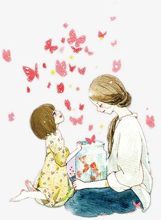 Mother s Day To The Mother S Love Of Watercolor Illustrations Art And Illustration, Watercolor Illustration, Illustrations, Mother Daughter Art, Mother Art, Mother Clipart, Mothers Love, Girl Cartoon, Easy Drawings