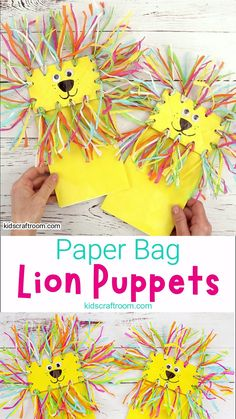 Make adorable Paper Bag Lion Puppets. They're super easy and great for imaginative play! This lion craft idea is great for kids big and small. Pop your hand in and play, play, play. Paper bag puppets are such fun to make and play with! Winter Crafts For Kids, Halloween Crafts For Kids, Spring Crafts, Diy Crafts For Kids, Art For Kids, Preschool Halloween, Paper Halloween, Preschool Christmas, Kid Art