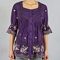 Embroidered boho summery top purple peasant top Short sleeves embroidered purple boho summery peasant top Jasmine Bay apparel  Tops