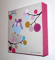 tableau pour enfant Cadre Diy, Owl Fabric, Diy Art, Home Deco, Baby Room, Illustration, Kids Room, Canvas Art, Diy Crafts