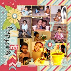Family Album 2002: Tristan's 7th Birthday layout by Tina Shaw   Pixel Scrapper digital scrapbooking