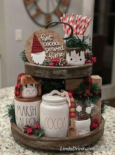 Farmhouse Christmas Decor, Christmas Kitchen, Rustic Christmas, Christmas Home, Christmas Holidays, Christmas Crafts, Holiday Decor, Tray Decor, Christmas Inspiration
