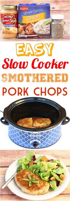 Crockpot Pork Chops Recipe! This easy slow cooker dinner is just 5 ingredients and one of my favorite recipes!