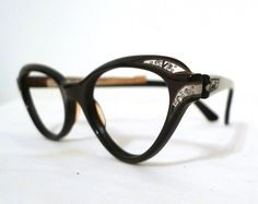 3b935d09b10 RESERVED Vintage 60s NOS Rhinestone Cat Eye Frames  Larger Mocha  Brown-Black Eyeglasses  Sunglasses