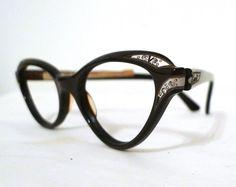 a59412f15f9c Fab Larger Rhinestone Cat Eye Frames in Mocha by BibbysRocket, $174.00 Spy  Eyewear, Vintage