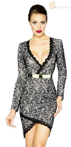 Coctailkleid Partykleid  Spitze Clubkleid Abendkleid Stretch Schwarz Gürtel