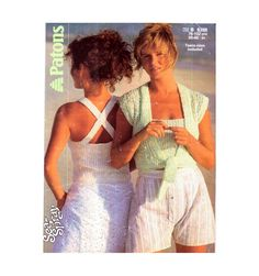 Genuine Vintage 1980s Patons 8388 Sea Spray Ladies Lacy 2 Piece Sun crop Cross-Over Top and Bolero Knitting Pattern