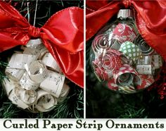 Cute curled paper strip ornaments - could use colored paper or a meaningful song, etc - I've seen it done using wedding invitations, given to the couple on the day of their wedding.
