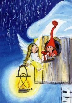 by Virpi Pekkala Angel Illustration, Christmas Illustration, Cute Illustration, Magical Christmas, Christmas Angels, Christmas Art, Animated Clipart, Baumgarten, Christmas Graphics