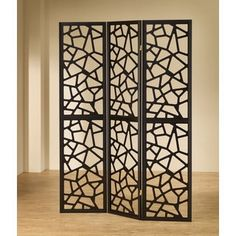 Black Wood Mosaic Folding Screen