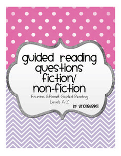 Here are some guided reading questions that go along with Fountas' & Pinnell's tips for implementing guided reading.