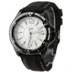 FW849D White Dial Black Watchcase Water Resist Silicone Black Band Fashion Watch