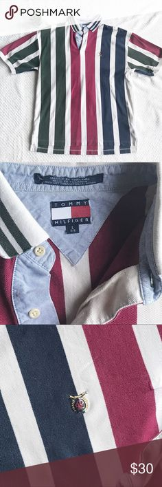 """90s TOMMY HILFIGER Men's Striped Polo Crest Logo L Vintage Tommy Hilfiger Polo Size Large Vertical Green, Red and Blue stripes  Original Crest Logo 100% Cotton Overall length 30"""" Bust-pit to pit 22"""" Tommy Hilfiger Shirts Polos"""