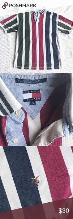 7a95a8583cb58 TOMMY HILFIGER Men s Striped Polo Crest Logo L Vintage Tommy Hilfiger Polo Size  Large Vertical Green