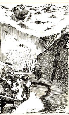 Imlil Mountains   Pen Drawings