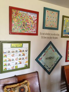 Love the idea of framing game boards and hanging them