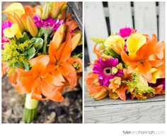 Bright Bouquet with Orange Lillies and Pink Daisies // Garden Wedding // Tyler and Hannah Photography
