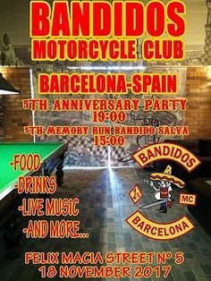 Bandidos Motorcycle Club Barcelona-Spain 5th Anniversary Party y 5th Memory Run Bandido Salva organizado por Bandidos MC Barcelona en Barcelona.