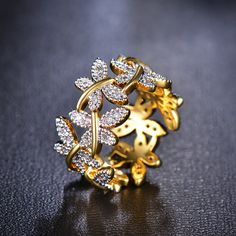 Wholesale Jewelry Elegant Flower Rings Composed Of 10 Butterflies Paved Tiny CZ Stone Fashion Rings For Women Perfect Accessories Jewelry - Diamond Solitaire Necklace, Diamond Jewelry, Jewelry Rings, Jewelry Accessories, Fine Jewelry, Gold Jewellery, Metal Jewelry, Unusual Wedding Rings, Wedding Rings For Women