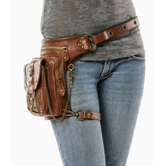 Outlaw Pack (Brown) Thigh Holster, Protected Purse, Shoulder Holster,... ($239) ❤ liked on Polyvore featuring bags, backpacks, brown rucksack, hip fanny pack, strap backpack, fanny bag and brown backpack
