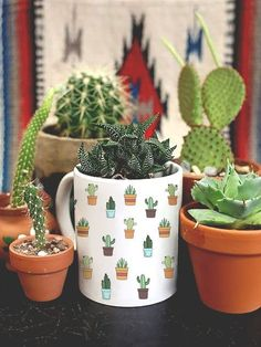Cactus Coffee Mug Plants - By Glacelis® #InteriorDesignPlants