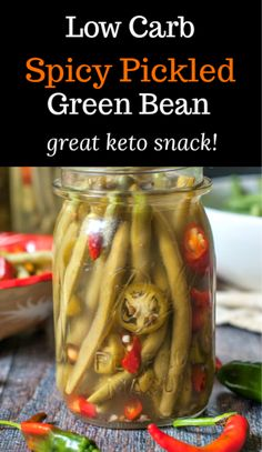 These spicy pickled green beans are my new obsession. Crunchy refrigerated pickled green beans that are both spicy and sweet and best of all, a tasty low carb snack. #lowcarb #Keto #refrigeratorpickles #pickledgreenbeans Spicy Pickled Beans, Pickled Green Beans, Canning Recipes, Kitchen Recipes, Pickled Cauliflower, Veggie Recipes, Keto Recipes, Veggie Dishes, Healthy Recipes